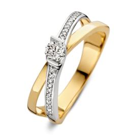 Excellent Jewelry Slanke Bicolor Overlappende Ring met 0,16 crt. Briljant