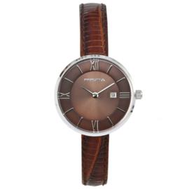 Robuust Zilverkleurig Dames Horloge met Bruin Lederen Horlogeband