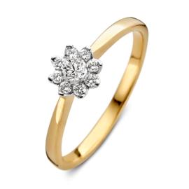 Excellent Jewelry Slanke Bicolor Ring met Bloem Briljant