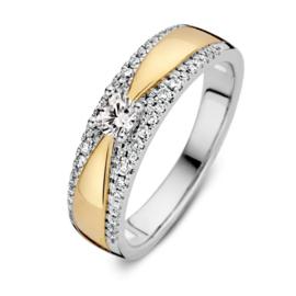 Excellent Jewelry Bicolor Ring met 0,40 crt. Briljant