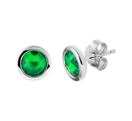 Zilveren Oorknoppen met Synthetische Smaragd