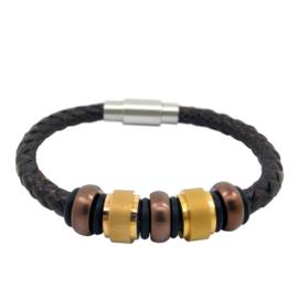 XS4M DISX Bruin Leren Armband met Bedels