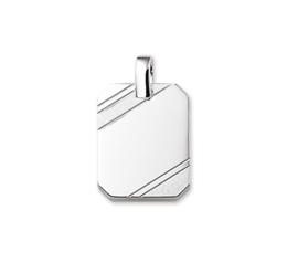 Gepolijste met Matte Zilveren Achthoekige Graveer-hanger 10.05876