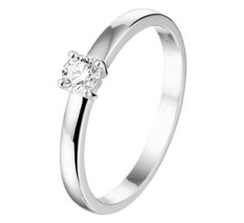 Witgouden Ring met 0,2crt. Diamant voor Dames