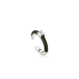 Ania Haie Bright Future Zilveren Ear Cuff met Groene Emaille