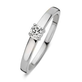 Excellent Jewelry Witgouden Ring met 0,16 crt. Briljant
