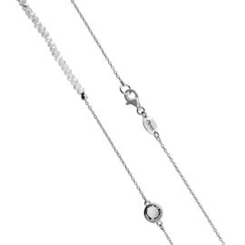 Zilverkleurige Schakel Ketting met Witte Steentjes en Zirkonia's