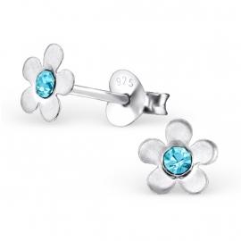 Bloemen Oorbellen + Strass steentje aquamarine