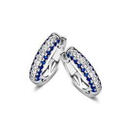 Excellent Jewelry Witgouden Creolen met Briljanten en Saffieren