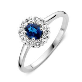 Excellent Jewelry Witgouden Ring met 0,43 crt. Saffier Kopstuk