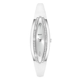 Sekonda Zilverkleurig SEKSY Dames Horloge met Witte Horlogeband
