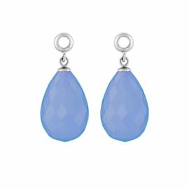 Creoli Hangers met Cat's Eye Periwinkle Blue Facetgeslepen Glasbedel