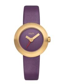 Goudkleurige M&M Dames Horloge met Paars Lederen Horlogeband