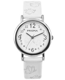 Butterfly Witte Meisjes Horloge met Witte Lederen Horlogeband