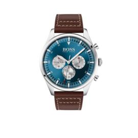 Hugo Boss Horloge Pioneer Zilverkleurig Horloge met Bruine Band van Boss