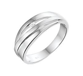 Zilveren Ring met Diagonale Stroken met Zirkonia