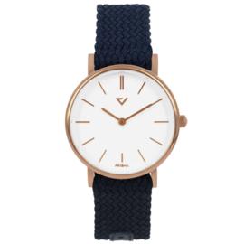 Prisma Roségoudkleurig Slimline Dames Horloge met Blauwe Band