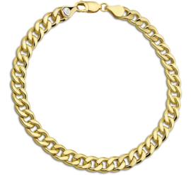 Gouden Schakelarmband Geslepen Gourmet 6,5 mm | Lengte 21 cm
