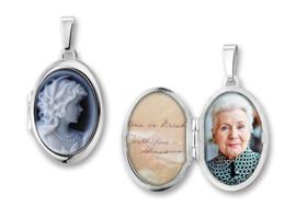 Zilveren Medaillon met Vrouw Camee - Names4ever