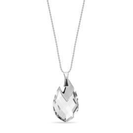 Silver Drop Zilveren Ketting met Witte Kristallen