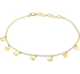 Goudkleurig Armband rondjes 1,2 mm 16,5 + 2,5 cm
