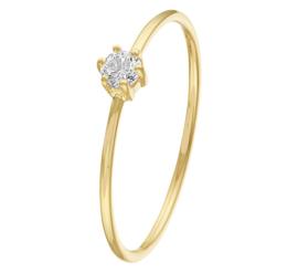 Slanke Ring van Geelgoud met Kleurloze Zirkonia