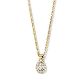 Excellent Jewelry Gouden Schakelcollier met Druppelvormige Briljant Hanger
