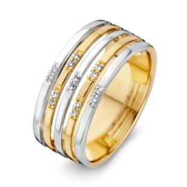 Excellent Jewelry Bicolor Lijnen Ring met Briljanten