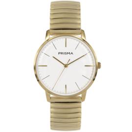 Zilverkleurig Prisma Heren Horloge met Witte Wijzerplaat en Rekband