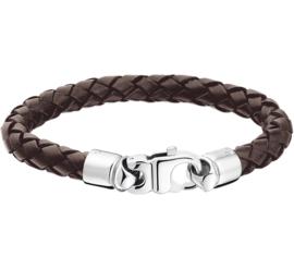 Bruin Lederen Gevlochten Armband met Edelstalen Sluiting