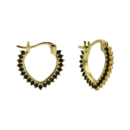 Goudkleurige V-Vormige Oorstekers met Zwarte Zirkonia's | Karma Jewelry