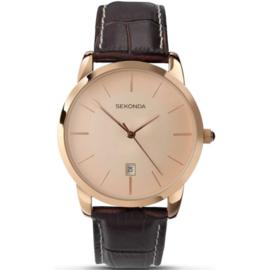 Roségoudkleurig Heren Horloge met Bruin Lederen Horlogeband