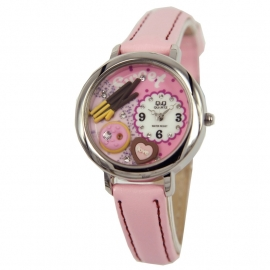 Q&Q Horloge voor meisjes / Roze Lederen Band