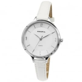 Prisma Dames Horloge P.8390 Wit lederen Horlogeband