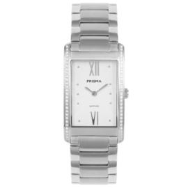 Fris Zilverkleurig Rechthoekig Dames Horloge van Prisma met Sierdiamanten