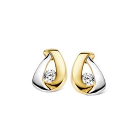 Excellent Jewelry Bicolor Opengewerkte Oorstekers met Zirkonia