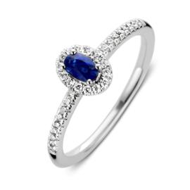 Excellent Jewelry Witgouden Ring met Diamanten en Saffier