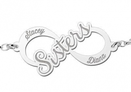 Names4ever Sisters Infinity Armband van Zilver - Graveer Sieraad