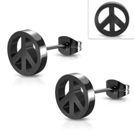 Zwarte Edelstalen Peace Oorstekers