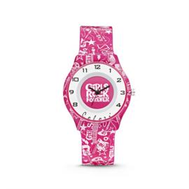 """Roze """"Girls Rock Forever"""" Horloge van Colori Junior"""