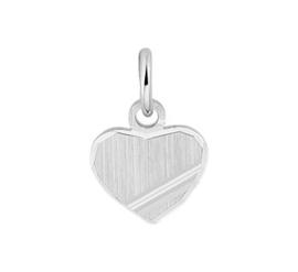 Zilveren Graveer Hanger Hart met Gediamanteerde Afwerking