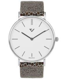 Opvallend Zilverkleurig Horloge met Lichte Lederen Horlogeband