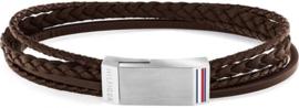 Gesplitste Bruin Lederen Armband voor Heren van Tommy Hilfiger