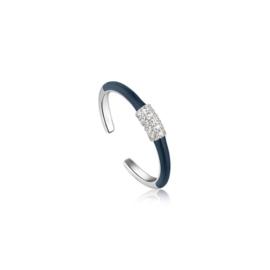 Ania Haie Bright Future Zilveren Ring met Blauwe Emaille en Zirkonia's