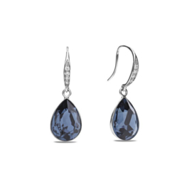 Classy Pear Zilveren Oorhangers met Blauw Glaskristal