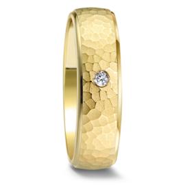 Gehamerde Geelgouden Dames Trouwring met Diamant