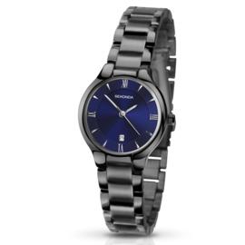 Zwart Dames Horloge van Sekonda met Blauwe Wijzerplaat