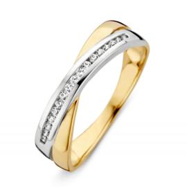 Excellent Jewelry Bicolor Dames Ring met Witgouden Zirkonia Strook