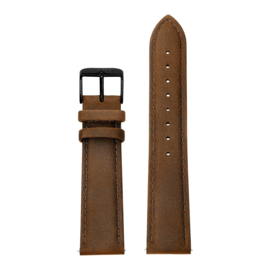 Bruine Lederen Horlogeband met Zwarte Gespsluiting van KANE