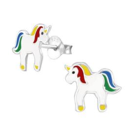 Zilveren Kinderoorbellen Eenhoorn Rainbow Love